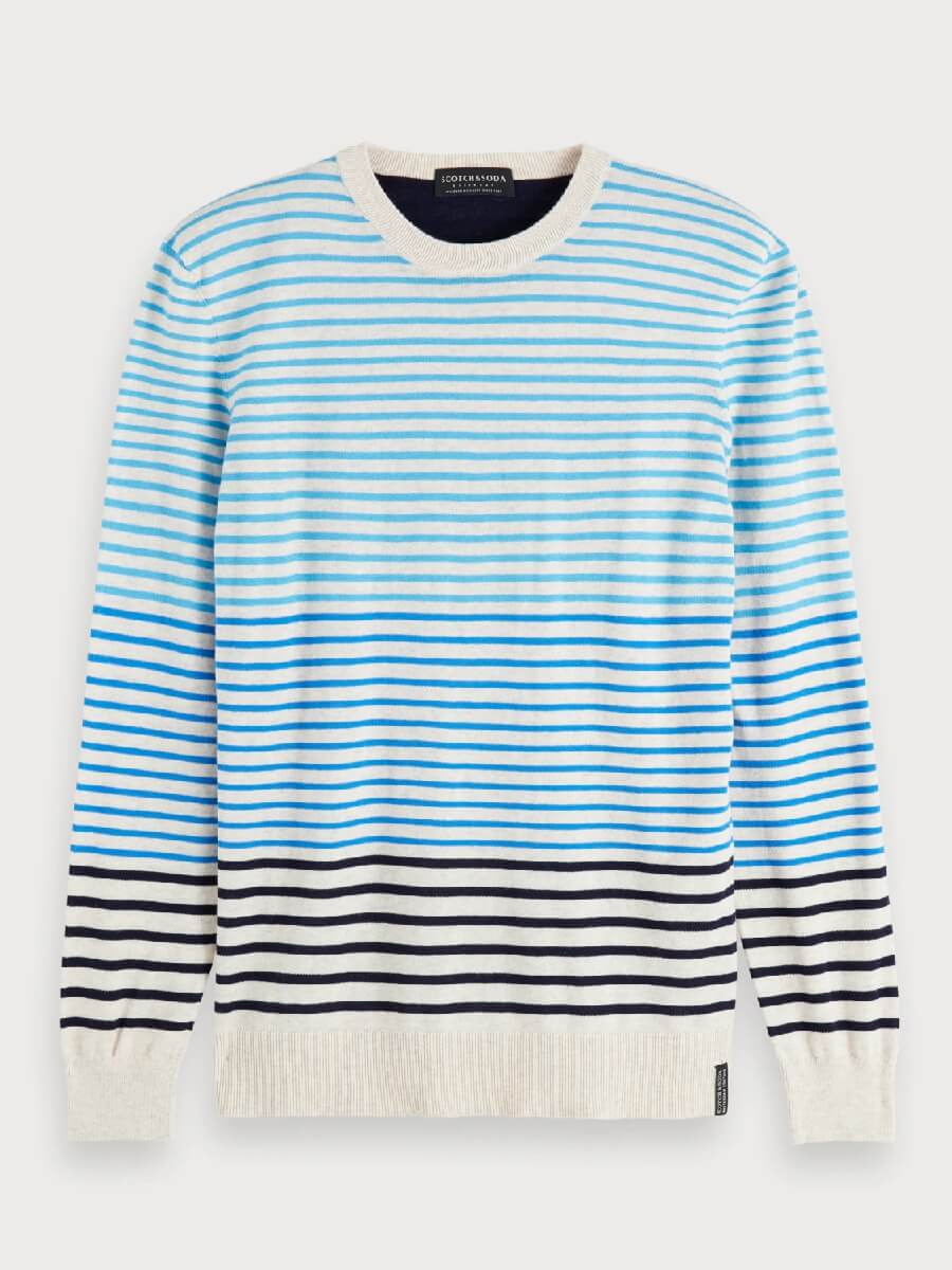 Striped pull crewneck