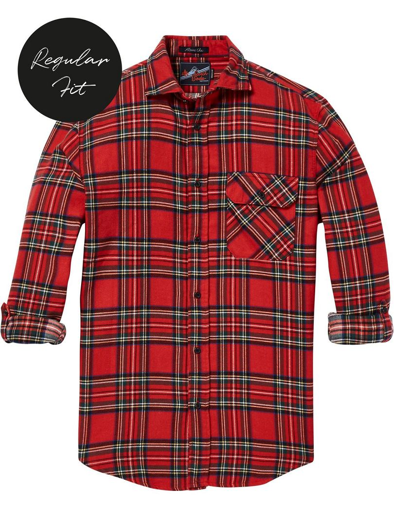 Flanel ruit sleeve roll-up