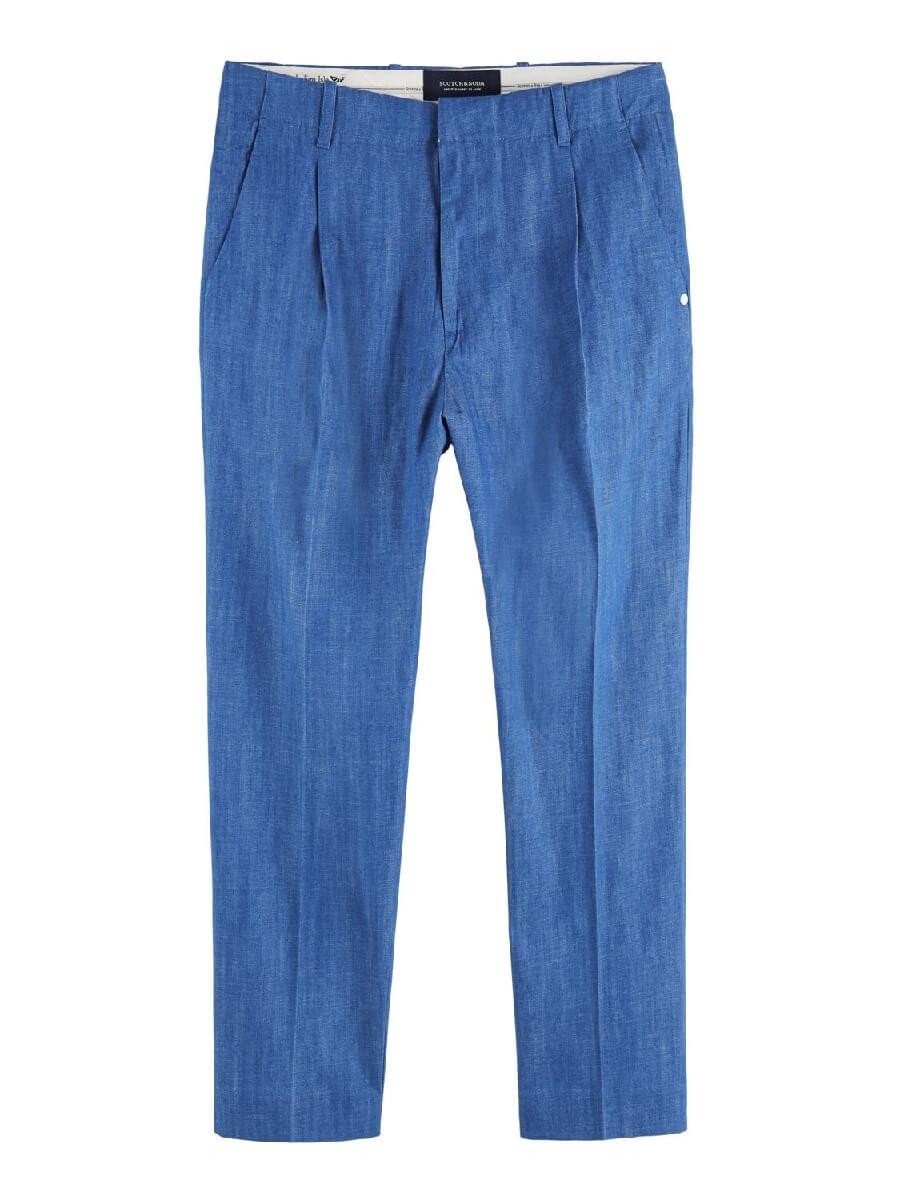Ams indigo pleated suit pants