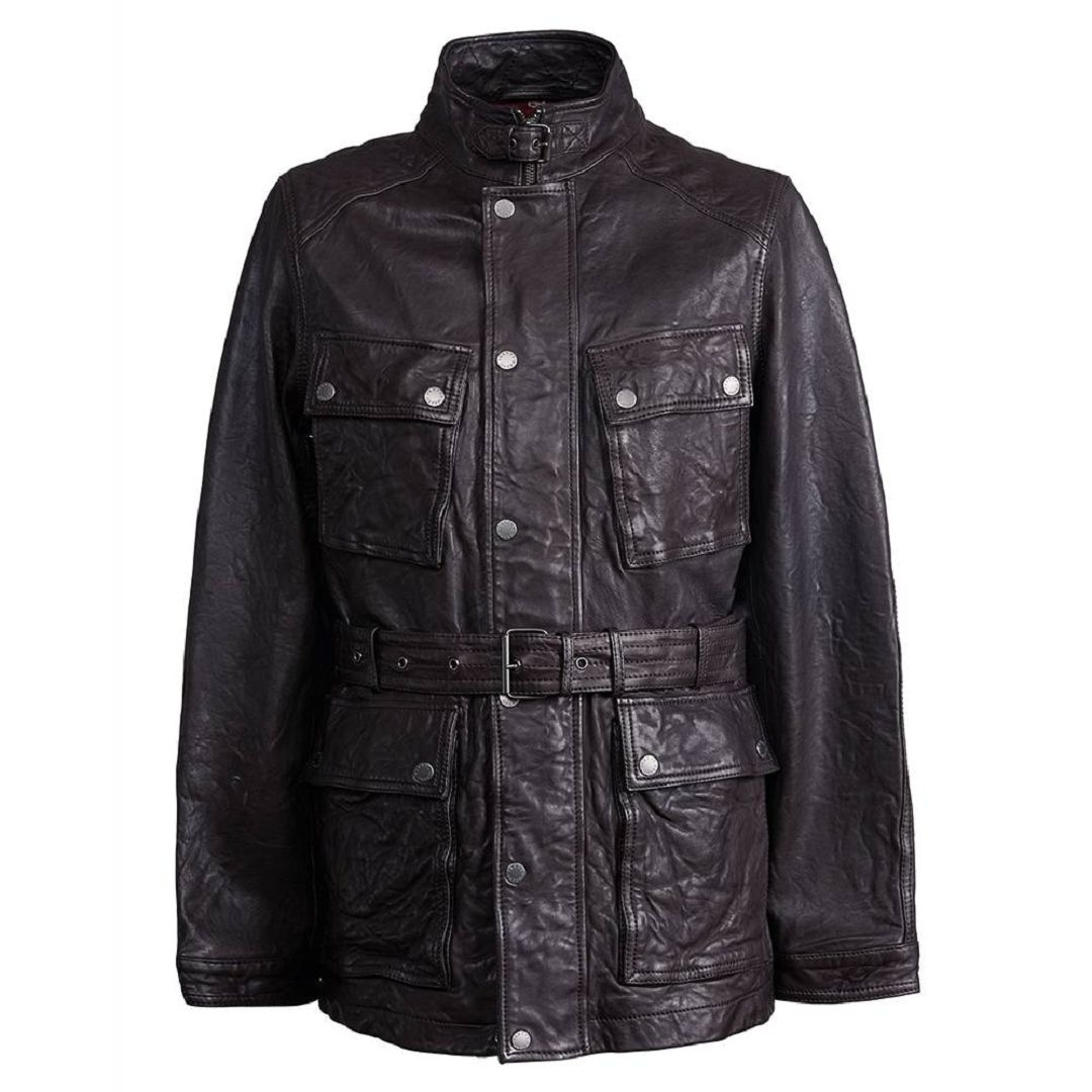 Lederen jas met riem